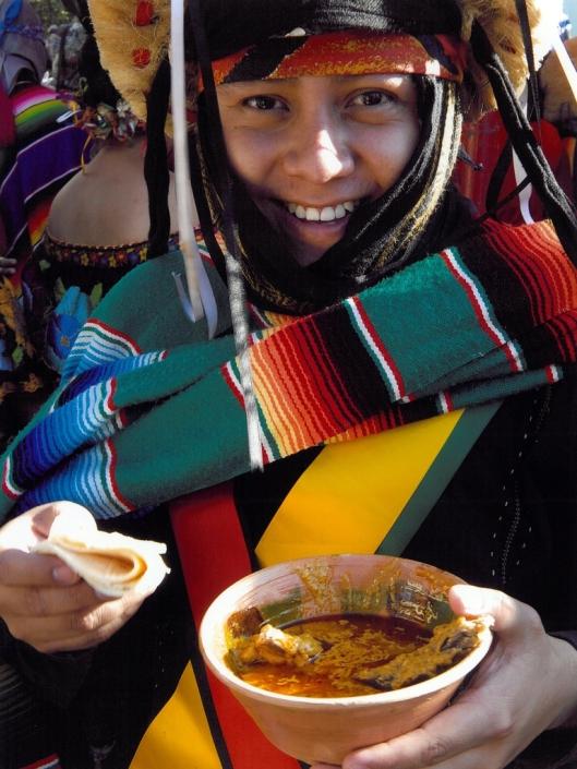 A Parachico eating the traditional dish of Chiapas, called pepita con tasajo, for the Comida Grande, Chiapa de Corzo, Mexico / © 2009 Coordinación Ejecutiva para la conmemoración del Bicentenario de la Independencia Nacional y del Centenario de la Revolución Mexicana del Estado de Chiapas @ UNESCO Archive