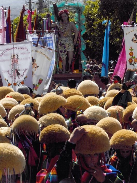 The parade of the Parachicos leading the Priostes group carrying the statue and flag of Saint Sebastian, Chiapa de Corzo, Mexico / © 2009 Coordinación Ejecutiva para la conmemoración del Bicentenario de la Independencia Nacional y del Centenario de la Revolución Mexicana del Estado de Chiapas @ UNESCO Archive