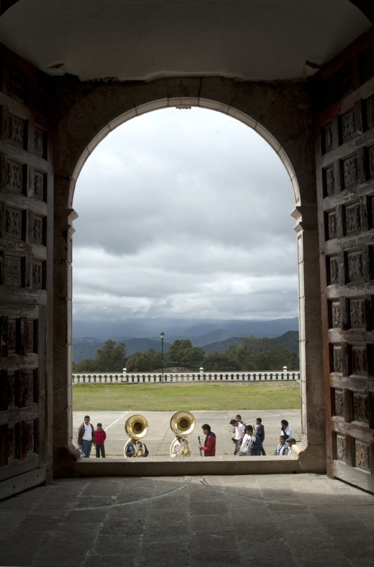 Mariachi band entering the Templo de San Mateo, Capulálpam de Méndez, Sierra Juárez, Oaxaca, Mexico / Andreja Brulc