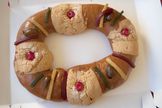 Commercially-made Rosca de Reyes out of the box, Oaxaca, Mexico / Andreja Brulc