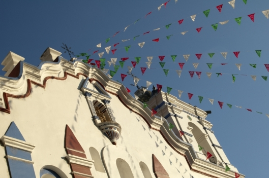 Flags (papel picado) for the Fiesta de la Virgen de Guadalupe suspended from the Church of Santa Maria del Tule, Tule, Oaxaca, Mexico / Andreja Brulc